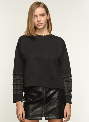 NGSTYLE Ngkaw21Sw0010 Kol Püskül Detaylı Sweatshirt Siyah